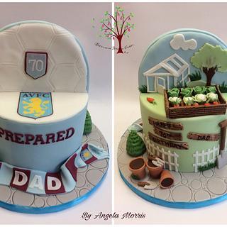 70th birthday Gardening & Aston Villa double theme - Cake by Blossom Dream Cakes - Angela Morris