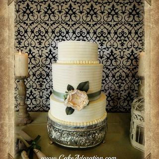 Vintage Buttercream With Hand Made Peony