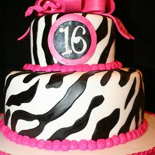 Zebra Stripes with Hot Pink Bow