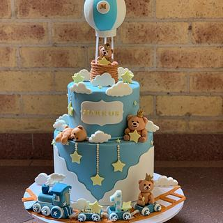 Hot air ballon cloud and train cake