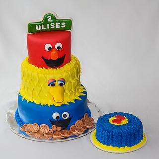 Sesame Street 2nd Birthday Cake with Smash Cake