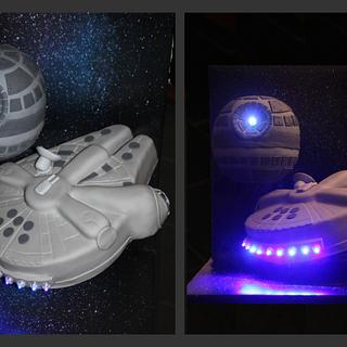 Star Wars (Millenium Falcon and Death Star) - Cake by Cakes for Fun_by LaLuub