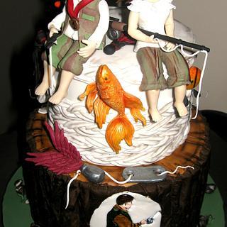 fishing couple cake