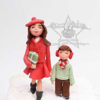 Mum and boy christmas shoppers, Christmas in Frostington - Cake by Starry Delights
