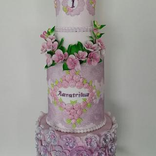 Flowers and crown birthday cake