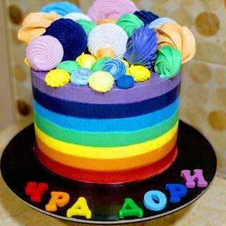 Rainbow cake without fondant