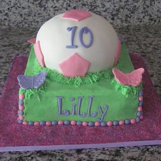 Soccer cake with cupcakes