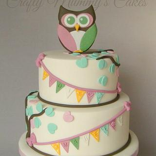 Owl Christening Cake - Cake by CraftyMummysCakes (Tracy-Anne)