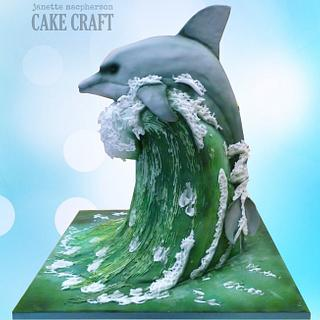3D carved Dolphin on Wave