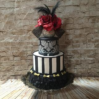 Ruffles ,stripes and stencil Budior cake - Cake by Inspired Sweetness