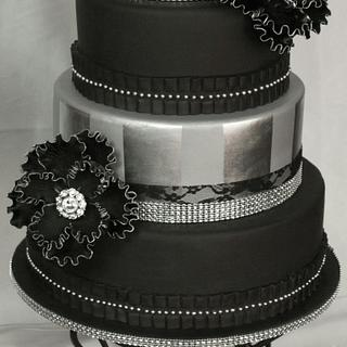 Black and silver cake