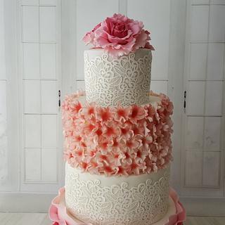 Wedding Cake Pink peony and blossoms