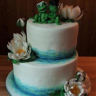 Wedding cake with frogs and water lilies