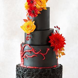 Autumn Wedding Cake in Black