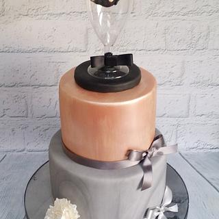Rose gold and marble cake