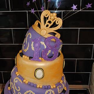 3 Tier Wonky 18th Cake with a Princess Tiara & Cameo's - Cake by thecakeladynewquay