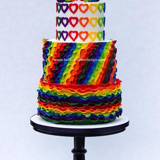 Colorful ruffles wedding cake - Cake by Bellaria Cake Design