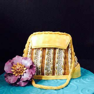 Gold and Pearl purse cake