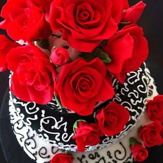 Sweet Sixteen with sugar red roses