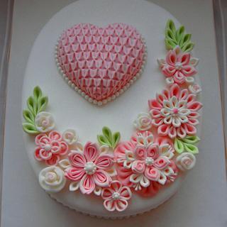 Ribbon flowers cake