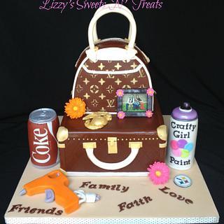Louis Vuitton Purse & Luggage cake
