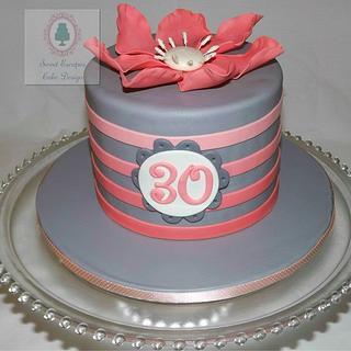 Pink & Gray Ombre Striped Cake