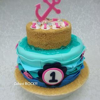 Whales & Anchors First Birthday Cake