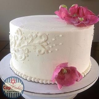 Orchid birthday cake - Cake by CopCakes