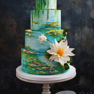 Water Lilies (Claude Monet) Wedding Cake