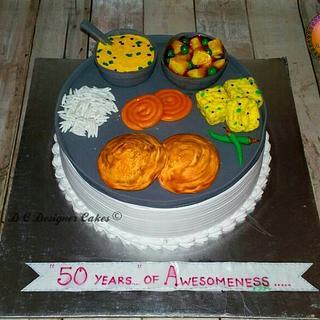 Gujarati thali theme cake  - Cake by Divya chheda