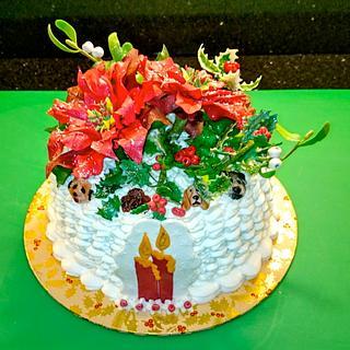Christmas cake, flowers and Dogs! - Cake by Iria Jordan