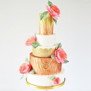 Boho Chic Wafer Paper Flower Wedding Cake
