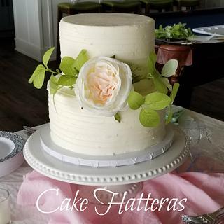 Small Wedding Cake with Silk Flowers