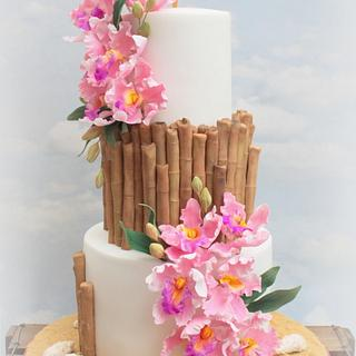 Tropical hawaiin engagement cake