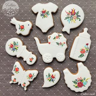 Folklore baby shower cookies