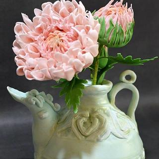 carved ewer with sugar chrysanthemums - Cake by  Despina Vrochidou