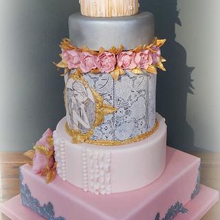 Amadea - Peony wedding cake - Cake by Petraend