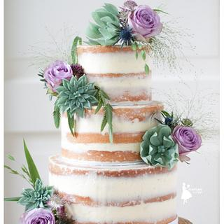 Naked cake with handmade succulents and roses