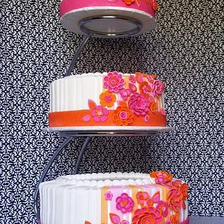 Orange/Pink Wedding cake