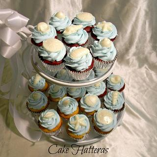 Icy Blue, Beach Wedding Cupcakes