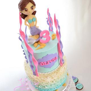 Mermaid Birthday Cake and Cupcakes