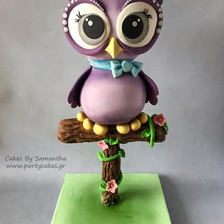 Lilac Owl on a Perch Cake