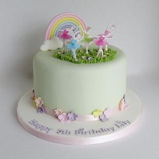 Rainbow ballerina cake