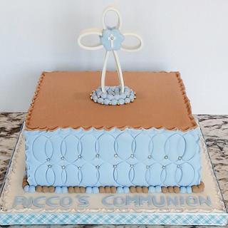 Light Blue and Tan Communion cake