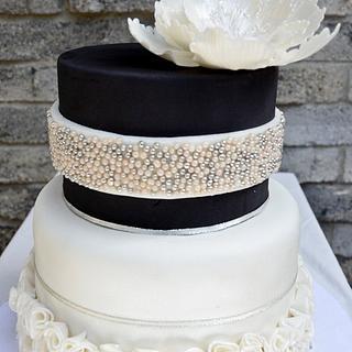Open Peony Wedding Cake