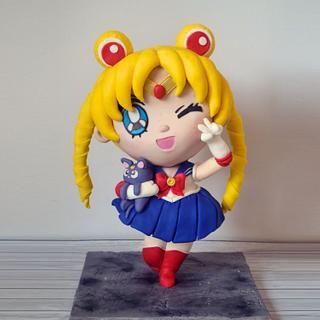 Sailor moon carved cake /evangeline cakes