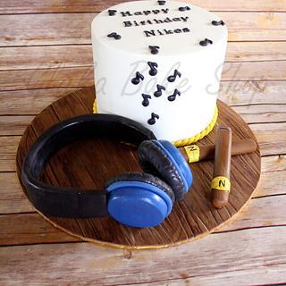 Music & Cigar Enthusiast's Birthday Cake