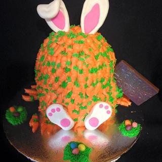 Bunny covered in carrots cake