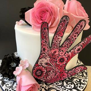 Swirls & Roses Birthday Cake