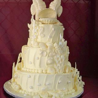 white chocolate beach themed wedding cake - Cake by elisabethscakes